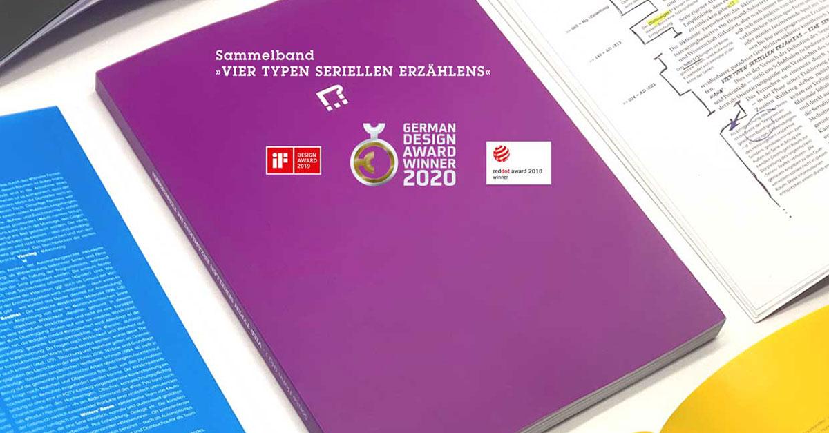Sachbuch »Vier Typen seriellen Erzählens« mit Red Dot, iF Award und German Design Award ausgezeichnet